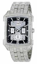New Bulova 96C108 Crystal Striking Visual Design Black Dial Men's Watch $599