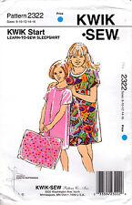 """1993 Kwik Sew Master Sewing Pattern 2322 """"Girls' """"Learn to Sew' Sleepshirt"""""""