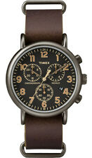 Timex TW2P85400 Men's Weekender Indiglo Slip-On Leather Band Chronograph Watch