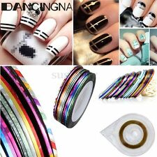 12 Colors Nail Art Sticker Rolls Striping Tape Line UV Gel Tips Decorate DIY Kit