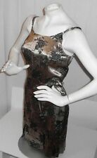 DBY LTD. LADIE'S GOLD SHEATH WITH BLACK FLOWERS EVENING COCKTAIL DRESS-SIZE 9