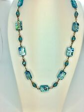 Vintage Millefiori Murano Glass Beads Necklace Aqua Blue Art Deco Crystal