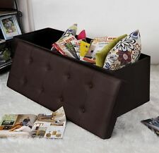 Storage Ottoman Bench Leather Like Seat Chair Chest Foot Stool Closet Toy Trunk