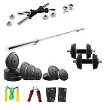 Fitfly Home Gym Set 8 Kg Rubber Plate 3ft Plain Rod Gloves Skiping dumbbells