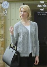 KNITTING PATTERN Ladies Sleeveless V-Neck Diamond Cardigan DK King Cole 4265