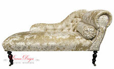 Beautiful Champagne Cream Crushed Velvet Chaise Longue  **HAND MADE IN UK**