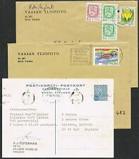 Finland. 2 covers. Olympics/Flowers/Definitives + Postal Stationery Card.