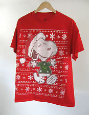 Peanuts Snoopy Christmas Tee Ugly Sweater Graphic Red T-shirt Sz L