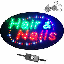 "Large 24x13"" Oval Hair & Nails Salon Shop Store LED Sign pedi mani Open Neon"