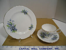 Grosvenor English Bone China Blue Floral Plate, Tea Cup & Saucer Trio Set - EUC