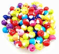New 100Pcs 8mm Mixed Color Acrylic Round Heart Spacer Loose Beads DIY Jewelry
