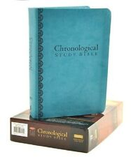 ** NKJV ** Chronological Study Bible  - Peacock Blue Leathersoft ! 9pt   NEW !!