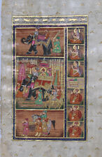 Mughal King & Queen Procession Scene On Elephant Painting Artwork Vintage_AR776