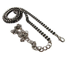 New Fashion 1Pc 2Rows Long Black Crystal Rhinestone Waist Chain Belt N38