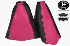 PINK & BLACK FITS FORD FOCUS MK1 1998-2004 GEAR HANDBRAKE GAITER REAL LEATHER