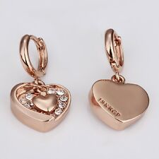 New Design Crystal Stud Eardrop Jewelry 18k Rose Gold Plated Heart Earring