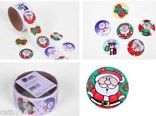 Lot of 24 Round Christmas Stickers - For Christmas Stockings & Cards