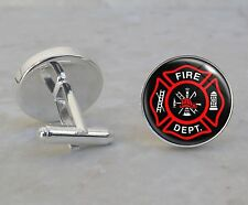 Fire Department Firefighter 925 Sterling Silver Cuff Links