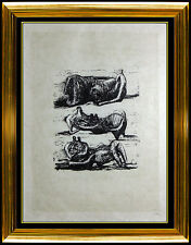 Henry Moore Lithograph HAND SIGNED Reclining Figures Sculpture Painting Bronze