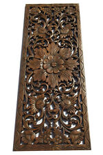 """Tropical Carved Wood Wall Decor Panel.Floral Wood Wall Art. Dark Brown 35.5""""x13"""""""
