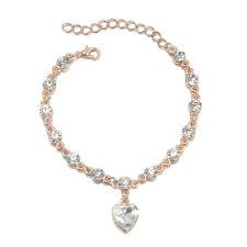 Luxury Women Charm Rhinestone Heart Gold Silver Chain Crystal Bracelet Jewelry