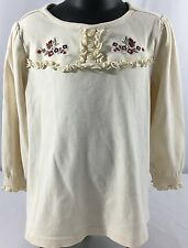 Gymboree Girl Detective size 4 Long Sleeve Flowers Ruffles Cream Shirt Top $24