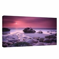 Large beach,sea, rock,sky,water landscape 20x40 inch Canvas Wall sunset Picture
