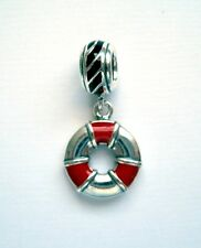 LIFE SAVER w RED,  NAVY STRIPED BAND 925 Sterling Silver European Charm Bead