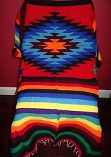 "New Hand Woven  Diamond Design Throw  Blanket   Mexican  79"" x 50"""