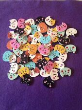 Brand New Selection Of 10 2-hole Wooden Mixed Cat Head Cute Buttons