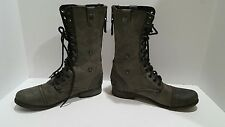 Steve Madden CHEVIE womens black dark gray leather combat boots size 8.5