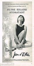 PUBLICITE ADVERTISING 065  1966  JEAN D'ESTREE    cremes solaires