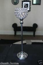 TALL CRYSTAL PILLAR TEALIGHT CANDLE HOLDER WEDDING CENTERPIECE LAMP 43CM