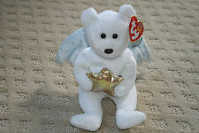 Retired Ty Beanie Baby Babies Star Bear Sparkles White Wings