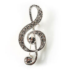 Small Silver Tone Crystal Music Treble Clef Brooch