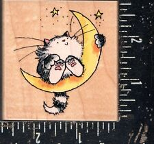 Penny Black Wood Mounted Rubber Stamp Cat on the Moon
