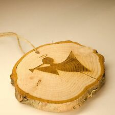 Log Slice Christmas Tree Decoration, Angel, Fairy, Hanging Wooden Ornament.