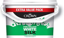 Crown Silk Emulsion Pure Brilliant White Wall & Ceiling Paint Breatheasy 7.5L