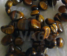 "DIY 15"" Tiger Eye Gemstone Brown Water Drop Pebble Shape Briolette Nuggets Batu"