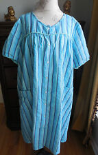 EUC BLUE STRIPE PINK K WOMEN'S SNAP FRONT COTTON ROBE, HOUSECOAT, DUSTER SIZE 2X