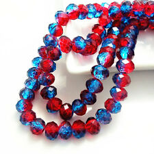 40pcs Rondelle Faceted Crystal Glass Loose Spacer Beads DIY 8mm HB140