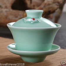 100ml celadon gaiwan porcelain bowl lid saucer China teaware tea set fish green