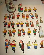 Vintage LARGE Lot Christmas Elves Gnomes Cake Toppers Planter Firgures