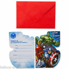 8 Marvel's AVENGERS HEROES Children's Party Invitations Invites plus Envelopes