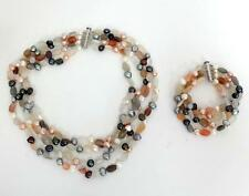 SET of genuine pearls moonstone necklace and bracelet sterling silver ... Lot 2S