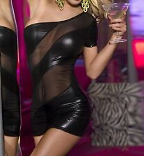 Sexy Black Faux Latex Look and See Through Mesh Panels Mesh Back to Waist