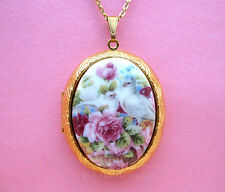 Porcelain Valentine White Love DOVES & Pink ROSES CAMEO Locket Pendant Necklace