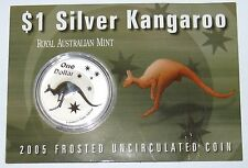 2005 Australian Kangaroo 1oz Frosted Silver $1 Uncirculated Coin