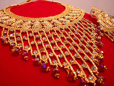 Bollywood Fashion Ethnic Wedding Bridal 5 PCS Indian Stone Necklace Jewelry Set
