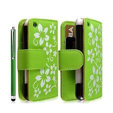 coque étui pour Apple Iphone 3G / 3GS fleur vert + t luxe + film écran